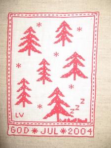 2004年  クリスマスの絵(もみの木と居眠りサンタ:拡大)