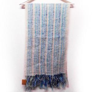 ブルー系長マフラー 日本製 手織り