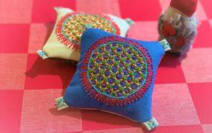 ウール刺繍のミニクッションワークショップ1回目 @ ヤマナシヘムスロイド